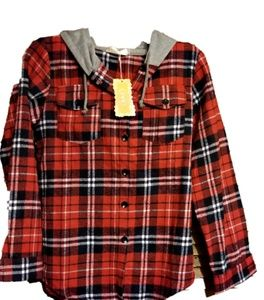 Youth Sized Button Up Hooded Flannel Top